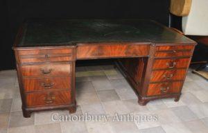 Античная Regency Колено Hole Пьедестал стол из красного дерева Flame
