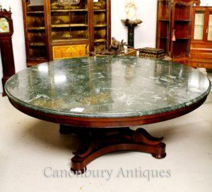 Античная Regency центр Обеденный стол из красного дерева столешница из мрамора Столы