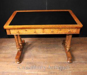 Античный Древесина клена Regency Письменный стол Рабочий стол Circa 1830 Tulip Ноги