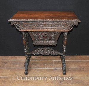 Античный Рука Резные Бирманский стол Письменный стол 1890 Лиственные