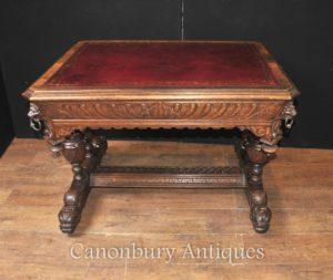 Античный 19 века резного дуба Библиотека стол стол Письменный стол