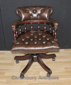 Викторианский Капитаны офисный стул поворотный стол Стул с кожаной