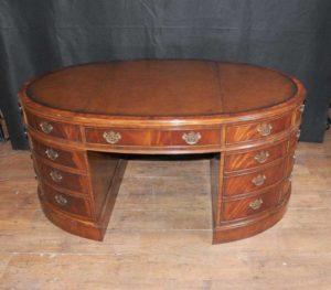 Викторианский Партнеры стол овальный из красного дерева Столы Письменный стол Мебель