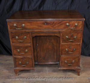 Георг III из красного дерева Колено Hole стол Бюро Пьедестал парты