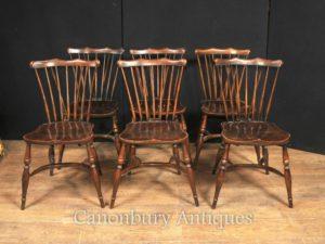 Набор 6 Античный Дуб Виндзор стулья 1920 Кухонный обеденный стул