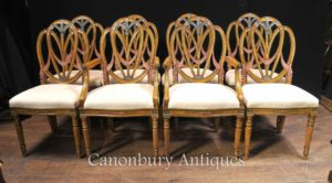 Набор 8 Сатинвуд Hepplewhite Стулья для столовой расписная мебель