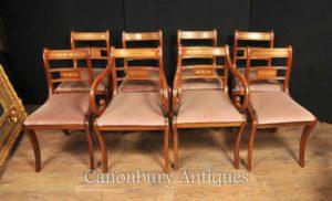 Набор 8 Walnut Античная Regency Стулья для столовой Brass инкрустацией