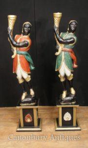 Пара итальянский венецианский арапа Цифры покрашены Circa 1930 Torcheres