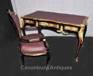 Французский Буль стол и стул Письменный стол Набор бюро инкрустация мебели
