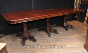 Regency Обеденный стол из красного дерева Тройной Пьедестал Манера Джордж Баллок
