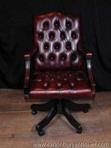 Regency Поворотный стол стул Кожаный кресло для Deep Button