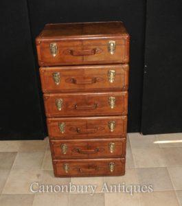Английская кожаная комод с выдвижными ящиками Комоды Tall Boy Colonial Furniture
