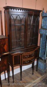 Античная Regency Display Кабинет Стеллаж из красного дерева
