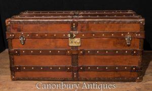 Большой старинный английский кожаный багажник для багажа