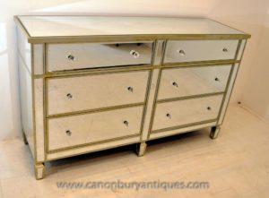 Мебель в стиле арт-деко Зеркальные двухярусные комоды