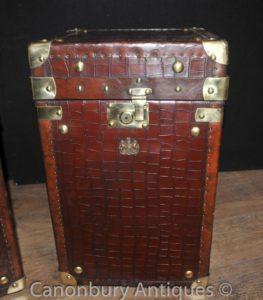 Пара английских кожанных сундуков для багажа Пароход Магистральные столы Box Крокодил