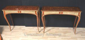 Пара французских консольных столов Louis XVI Inlay Ormolu