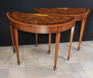 Парные орехи Demi Lune Консольные столы Hepplewhite Regency