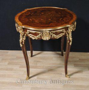 Французский Луи XVI Круглый Центр Настольный центр Боковые столы
