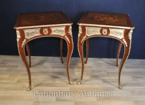 Pair Louis XVI Боковые столы Французская мебель Marquetry Inlay