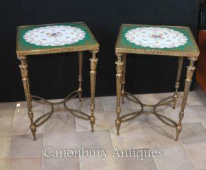 Pair Paris Sevres Позолоченные фарфоровые столы Цветочные топы