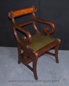 Regency Метаморфическая Набор стульев Библиотека Шаги Кресло красное дерево