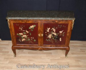 Античный французский шкаф Commode Lacquer Marquetry Inlay 1880