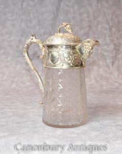 Викторианская серебряная пластина Tankard Jug Cut Glass Мужчина Гротеск