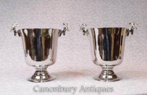 Пара викторианских серебряных пластинчатых винных холодильников Шампанские ведра Urns