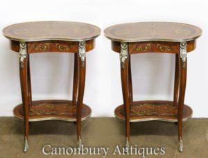Парные боковые столы для паркета Louis XVI Коктейльная инкрустация