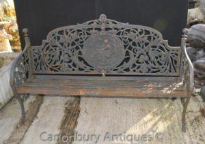 Английский Викторианский чугунный сад Скамья Архитектурное сиденье