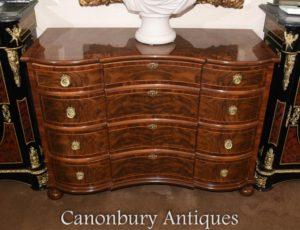 Орех Regency Bow Передняя сундук для ящиков Мебель