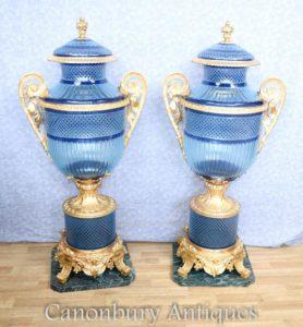 Пара Большие Людовика XV Синие Стеклянные Вазы Урны на Стендах