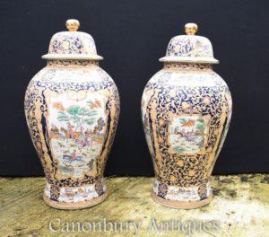 Пара Большой китайский Цинский фарфоровый храм Имбирь Банки Уширенные вазы Урны