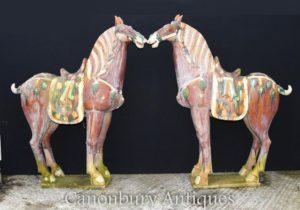 Пара Большой китайский фарфор Тан лошадей Пони Керамические Китай Лошадь