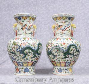Пара Китайские цианлунские фарфоровые вазы Драконские урны Керамические Китай