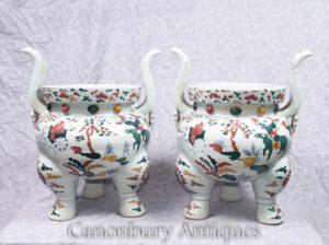 Пара китайского Цяньлунского фарфорового храма Jar Planters Incense Burners