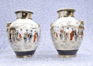 Пара японских сацумских фарфоровых ваз Урны Ручная роспись