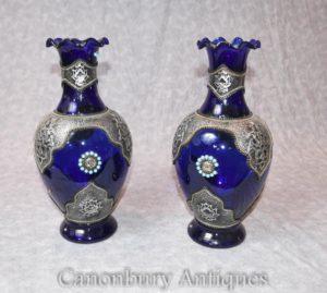 Пара Cobalt Loetz Glass Австрийские вазы Урны с серебряными подставками