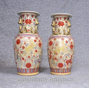 一对中国青瓷花瓶骨灰盒手绘鹿