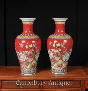 中国嘉庆瓷鸟花瓶皇红色