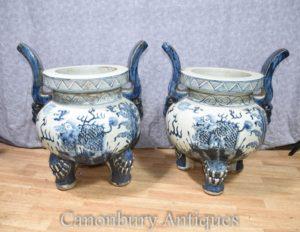 配对中国蓝色和白色南京瓷器花盆香火寺燃烧器锅