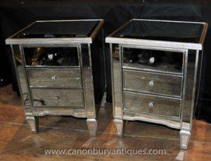 Pair Art Deco Зеркальные прикроватные тумбочки Комоды Столы Nightstands