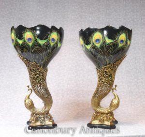 Pair Art Nouveau Фарфоровые павлинские вазы Урны птиц