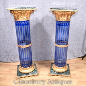 Pair Empire Cut Glass Коринфская колонна Подставки для подставки