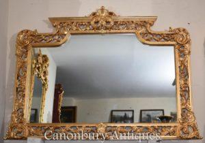 Большой английский Chippendale Gilt Mantle Mirror