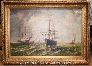 Морские картины маслом Галлеоны Русский канал Морской пейзаж