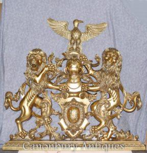 Позолота Герб Английская Замковая Рука Резная Геральдика