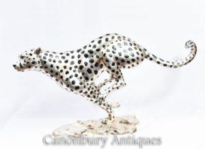 Серебряная бронза Запуск гепарда Cat Статуя Ар-деко Пантера