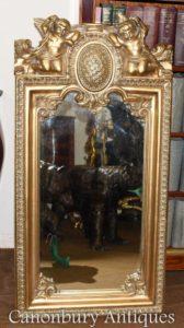 Французский барочный позолоченный Cherub Pier Mirror